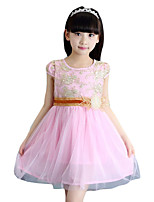 Girl's Casual/Daily Embroidered Dress,Cotton Summer Pink / Beige
