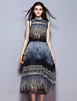 Women's Going out Street chic Loose Dress,Print Round Neck Maxi Sleeveless Blue Polyester Summer