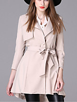 Women's Casual/Daily Simple Trench Coat,Solid Notch Lapel Long Sleeve Fall / Winter Red / Beige / Black Spandex Medium