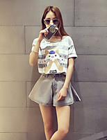 Boutique S Women's Casual/Daily Street chic Summer Set Pant,Striped / Print Round Neck Short Sleeve Cotton Thin