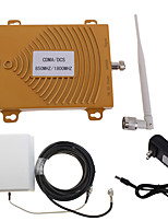Gold CDMA DCS 850/1800MHz Dual Band Mobile Phone Signal Booster Repeater Amplifier with Panel Antennas Kit