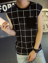 Men's Print Casual / SportCotton Sleeveless-Black / White