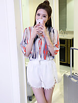 Women's Casual/Daily Simple Summer Set Pant,Print V Neck ½ Length Sleeve White Rayon Medium