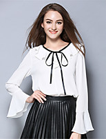 AOFULI Women Plus Size Vintage Solid Bow Ruffle Long Sleeve Chiffon Pullover Blouse Top