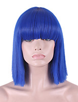 The New Cos Wig Blue Neat Bang Buckle Bobo Short Wig Within 12 Inch