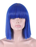 le nuove cos parrucca blu parrucca breve scoppio accurato fibbia bobo entro 12 pollici