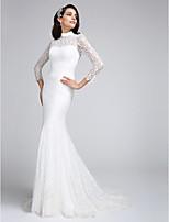 Lanting Bride® 트럼펫 / 머메이드 웨딩 드레스 코트 트레인 하이 넥 레이스 와 레이스