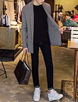 Men's Striped Casual Cardigan,Wool Long Sleeve Gray