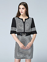 Boutique S Women's Casual/Daily Street chic Shift Dress,Striped V Neck Above Knee ½ Length Sleeve Black Polyester Fall