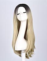 Fashion Star longs ondulés perruque ombre deux tons ombre noire perruques de cheveux blonds pour les femmes d'anime cosplay perruque de