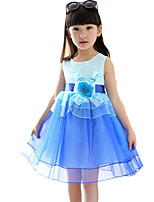 Girl's Going out Solid Dress,Cotton Summer Blue / Pink
