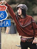 Aporia.As® Damen Rundhalsausschnitt Lange Ärmel Shirt & Bluse Braun-MZ12004