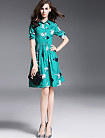Women's Plus Size / Going out Vintage Sheath Dress,Print Shirt Collar Above Knee Short Sleeve Green Cotton Summer