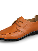Men's Oxfords Spring / Fall Comfort PU Casual Flat Heel  Black / Brown / Yellow / Khaki Walking