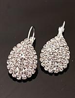 Earring Oval Stud Earrings / Drop Earrings Jewelry Women Fashion Party / Daily Alloy / Rhinestone 1 pair Silver / White