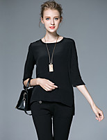 AFOLD® Women's Round Neck 1/2 Length Sleeve T Shirt Black / White-6030
