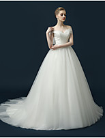 Ball Gown Wedding Dress Sweep / Brush Train Off-the-shoulder Tulle with Bow / Criss-Cross