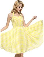 Maggie Tang Women's 50s VTG Retro Check Rockabilly Hepburn Pinup Business Swing Dress 571