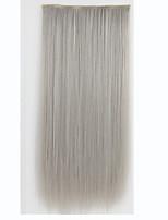 grampo em extensões do cabelo 120g 5clips 24inch 60cm de comprimento clipe natural macia em frente extensões de cabelo resistente ao calor