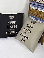 Set Of 2 Keep Calm&Carry On Linen Pillow Cover