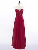 Formal Evening Dress A-line Sweetheart Floor-length Chiffon with Beading / Pleats