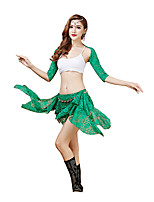 Belly Dance Outfits Women's Performance Lace Lace 4 Pieces Belly Dance Half Sleeve DroppedTop / Skirt /