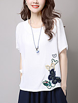 Women's Casual/Daily Simple Summer Blouse,Embroidered Round Neck Short Sleeve Pink / White Polyester Medium