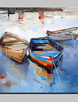 Hand Painted Boat Oil Paintings On Canvas Wall Art Picture For Home Decor With Stretched Frame Ready To Hang 100x100cm
