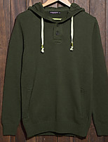 Men's Solid Casual Pullover,Cotton Long Sleeve Blue / Green / Gray