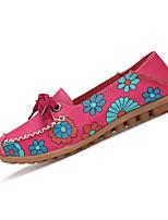 Women's Loafers & Slip-Ons Spring / Fall Comfort Leather Casual Flat Heel Slip-on Black / Red / White / Khaki Walking