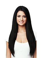 10-28 Inch Long Straight Wigs 100% Human Hair Lace Front Wigs Natural Black Color 130% Density