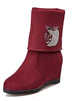 Mujer-Tacón Bajo-Botas a la Moda-Botas-Exterior / Casual-Semicuero-Negro / Rojo