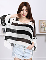 Women's Casual/Daily Simple Regular Pullover,Striped Pink / Black / Gray V Neck Long Sleeve Rayon Summer Thin