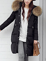 Women's Solid Black Padded Coat,Simple Asymmetrical Long Sleeve