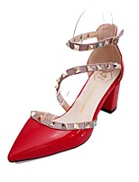 Women's Sandals Summer / Fall Pointed Toe Synthetic Dress Chunky Heel Rivet Black / Pink / Red / White Others