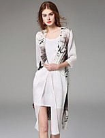 Angel Women's Casual/Daily Street chic Summer Jackets,Print Cowl ½ Length Sleeve White Silk Thin