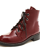 Zapatos de mujer-Tacón Robusto-Confort / Punta Redonda-Botas-Oficina y Trabajo / Vestido / Casual-Semicuero-Rojo / Negro y oro / Negro y