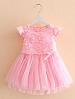 The New Children'S Clothing Rose Mesh Baby Girls Short-Sleeved Dress Child