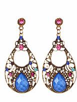 2016 Bohemia Style Vintage Hollow Water Drop Earrings For Women Colorful Crystal Dangle Earrings Jewelry