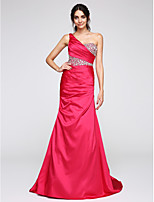 TS Couture® Formal Evening Dress Trumpet / Mermaid One Shoulder Sweep / Brush Train Satin with Crystal Detailing