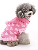 2016 New Autumn and Winter Christmas Sweety Heart Blue Pink Dog Sweater Dog Clothes with Hoodies for Pet Dogs