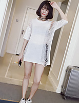 Women's Going out Simple Long Pullover,Solid White / Black Round Neck ½ Length Sleeve Cotton / Acrylic Summer Thin