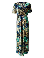 Women's Plus Size / Casual/Daily Vintage Loose Dress,Print V Neck Maxi Short Sleeve Blue Acrylic / Polyester Summer