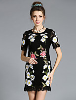 Plus Size Women Vintage Elegant High Fashion Handmade Embroidery Lace Hollow Dress