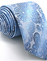 Men's Light Blue Paisley Tie 100% Silk Business Necktie Dress Casual Long
