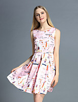 Boutique S Women's Casual/Daily Cute A Line Dress,Print Round Neck Above Knee Sleeveless Pink Polyester Summer