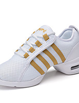 Non Customizable Women's Dance Shoes Taffeta Taffeta Dance Sneakers Split Sole Chunky Heel Practice / Outdoor / PerformanceBlack / Red /