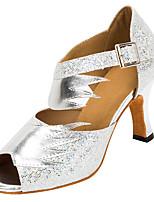 Chaussures de danse(Argent / Or) -Personnalisables-Talon Personnalisé-Similicuir / Paillette-Latine / Salsa