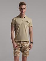 Mr D® Men's Shirt Collar Short Sleeve T Shirt Brown / Champagne / Dark Gray-6778
