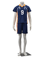 Inspired by Haikyuu Kageyama Tobio Anime Cosplay Costumes Cosplay Suits Solid Blue / Orange Short Sleeve Top / Shorts